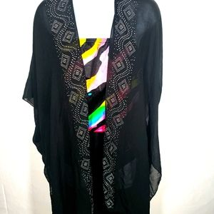 Black and Silver Sheer Bathing Suit Cover Up Cardi